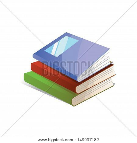 Three textbook for education on a white background. Vector illustration