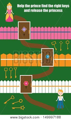Matching educational game for children. Match the doors and keys task. Learning geometric shapes theme for kids books worksheets