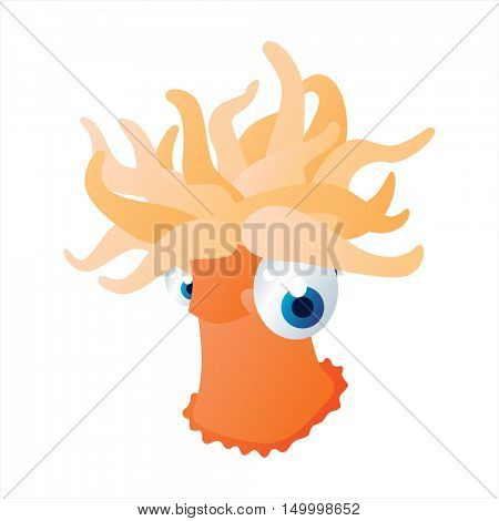 vector comic cute animal illustration. Comic funny cool colorful Actinia