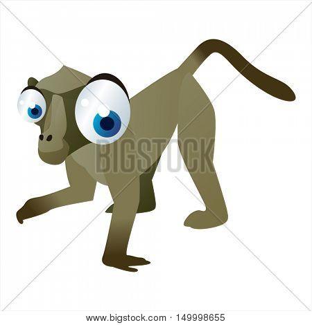vector comic cute animal illustration. Comic funny cool colorful Baboon
