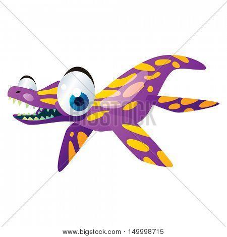 vector comic cute animal illustration. Comic funny cool colorful Water Dinosaur