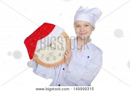 Girl with clock and Santa hat on white background with snow