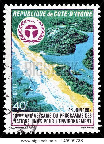 IVORY COAST  - CIRCA 1992 : Cancelled postage stamp printed by Ivory Coast, that shows Landscape.