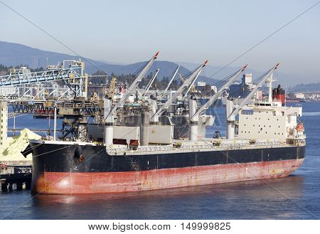 The cargo ship ready to get loaded in Vancouver (British Columbia).