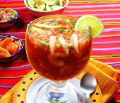 foto of poblano  - Cocktail of shrimps seafood mexican style with chili sauces - JPG
