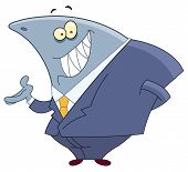 pic of loan-shark  - Vector cartoon of a smiling business shark - JPG