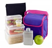 foto of lunch box  - Healthy lunch packed in plastic boxes with coolbag - JPG