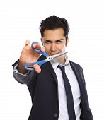 Businessman With Scissors Cutting