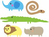 pic of jungle animal  - Cute cartoon jungle animals illustration of elephant - JPG
