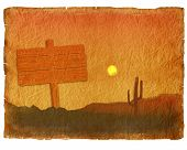 Arizona Desert Cactus Sagaur.old Paper