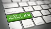 Green work in progress with gears symbol button on computer keyboard for concept about business life poster