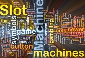 Background concept wordcloud illustration of slot machine gambling glowing light poster