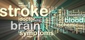 picture of hemorrhage  - Word cloud tags concept illustration of stroke glowing neon light style - JPG