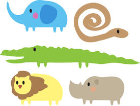 pic of jungle animal  - Cute cartoon jungle animals illustration of elephant - JPG
