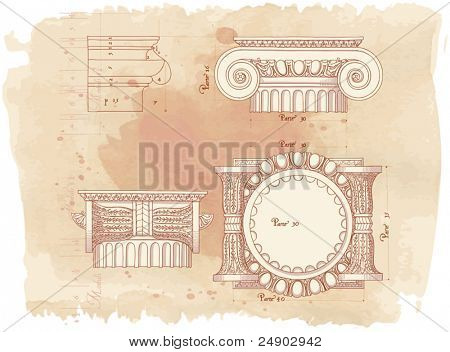 Hand draw sketch ionic architectural order & vintage watercolor background