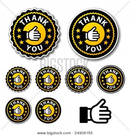vector thank you circle labels