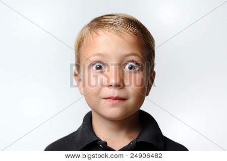 Young Boy with Surprised Expression