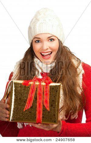 Beautiful Woman Holding Christmas Present
