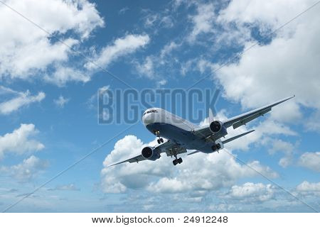 Jet Aircraft In A Blue Cloudy sky