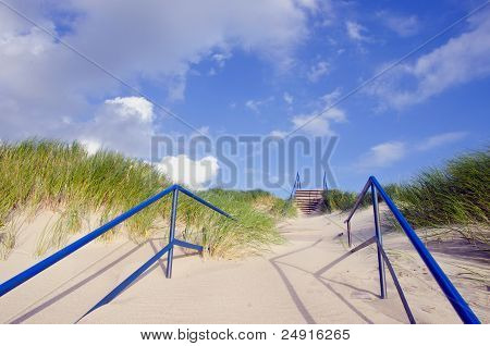 Sea Beach Staircase With Sand