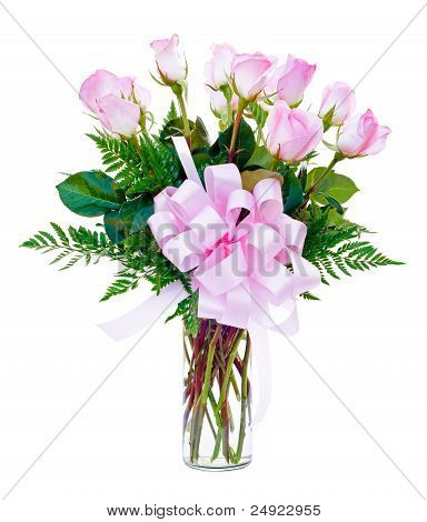 One dozen pink roses flower arrangement in glass vase for Valentine's Day
