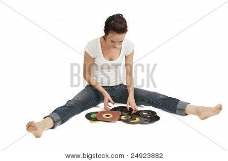 Young Woman And Her Record Collection