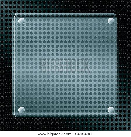 Vector Illustration Of A Metallic Background With Holes And A Glass Plate.