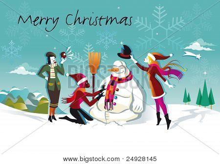 Snowman And Three Girls