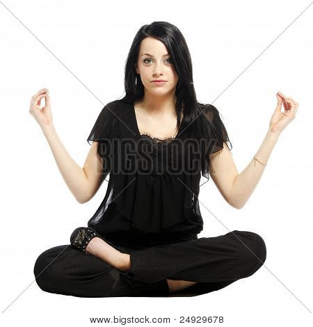 Young Business Casual Woman In A Lotus Yoga Position