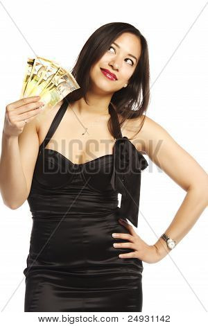 Young Asian Female Thinking Where To Spend Her Money