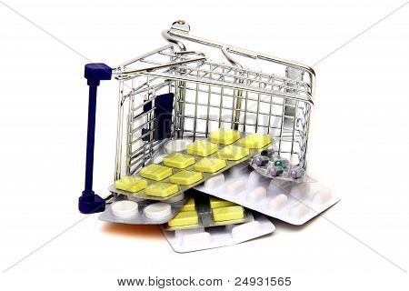 Toppled Shoppingcart With Medicines