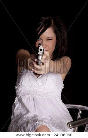Woman Looking Down Gun Sights