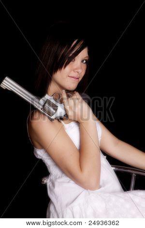 Woman Side Gun Shoulder