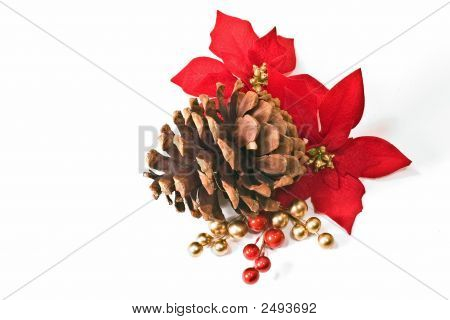 Pinecone And Poinsettia Accent