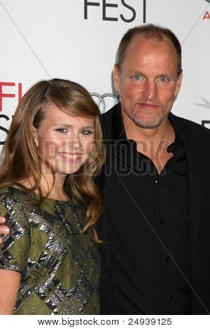 LOS ANGELES - NOV 5:  Sammy Boyarsky, Woody Harrelson arrives at the AFI FEST 2011 Gala Screening of