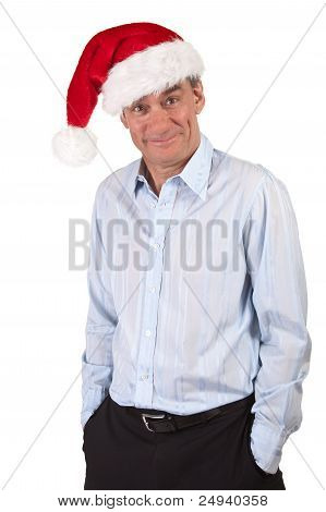 Handsome Grinning Business Man in Christmas Santa Hat