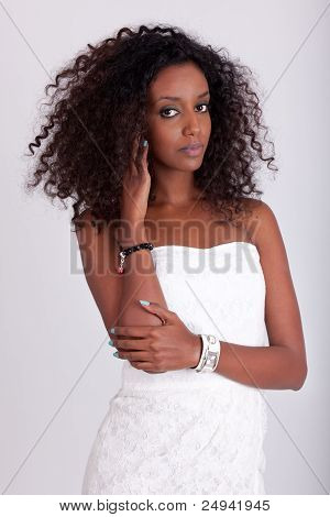 Young Beautiful African Woman With Curly Hair