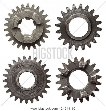 Machine gear, metal cogwheels. Isolated on white.