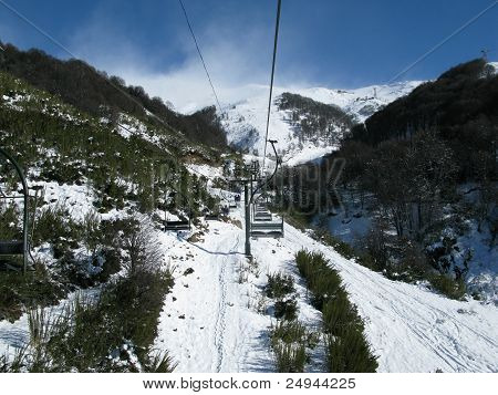 Chair lift in Bariloche during the snow season