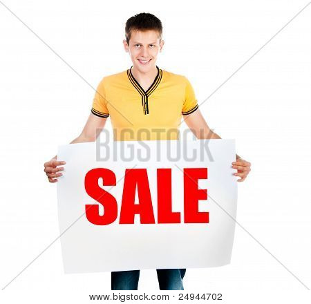 man holding  rd sale