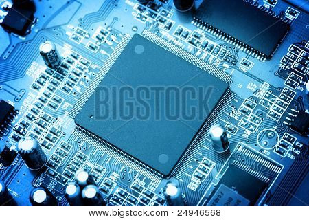 electronic circuit close-up. Macro background