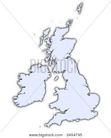 Great Britain Light Blue Map With Shadow