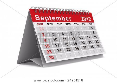 2012 year calendar. September. Isolated 3D image