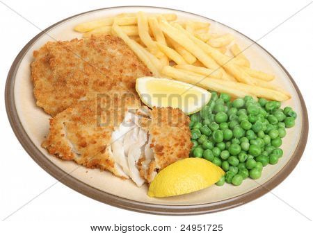 Breaded haddock fillets with fries and peas.