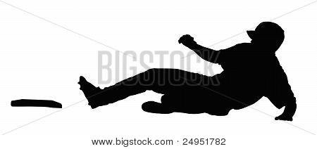 Baseball Runner Sliding For Base