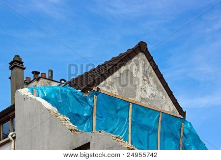 semi-detached house under construction