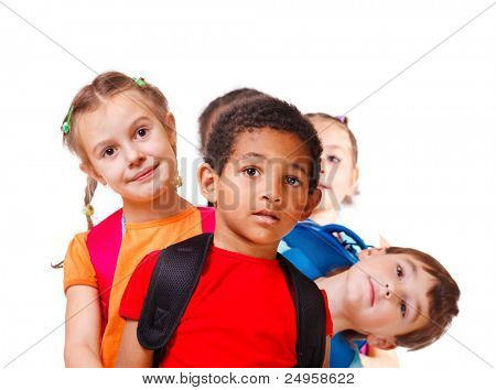 School aged kids with backpacks, isolated