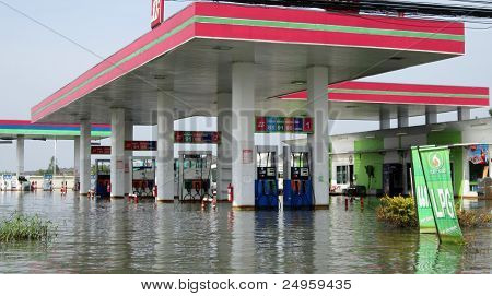 Flooded Petrol Station