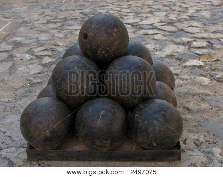 Pile Of Old Cannon Bombs
