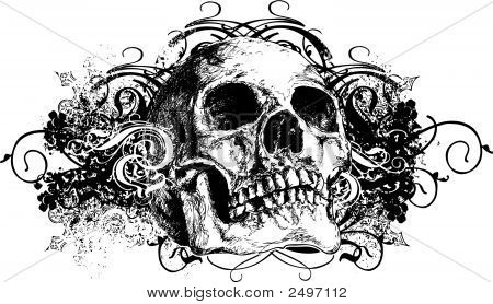 Vector Skull Floral Grunge Illustration